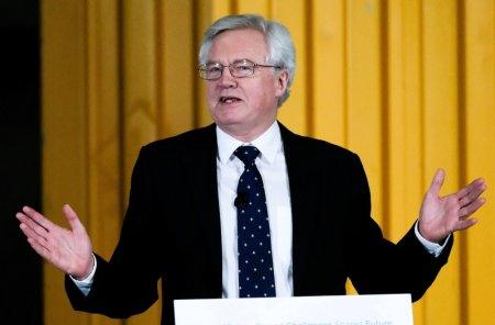 FILE PHOTO: Britain's Secretary of State for Exiting the European Union David Davis delivers a speech during a visit to PD Ports at Teesport near Middlesborough, Britain, January 26, 2018. REUTERS/Ian Forsyth/Pool
