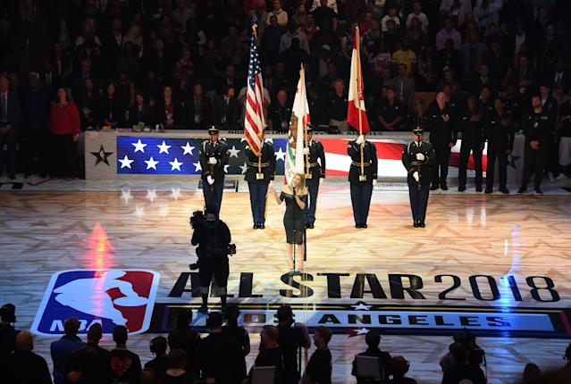 Fergie sings the national anthem at the 2018 NBA All-Star Game. (Getty)BA