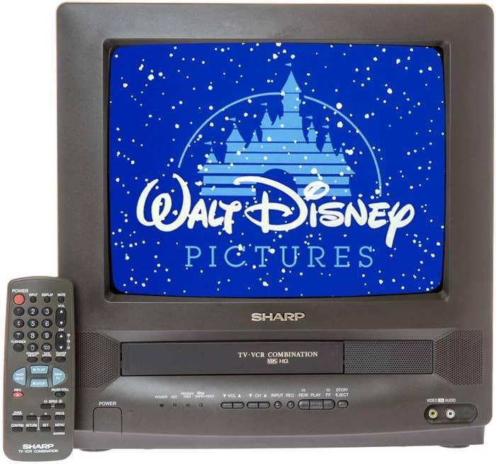 A Sharp TV-VCR TV with a Disney movie playing