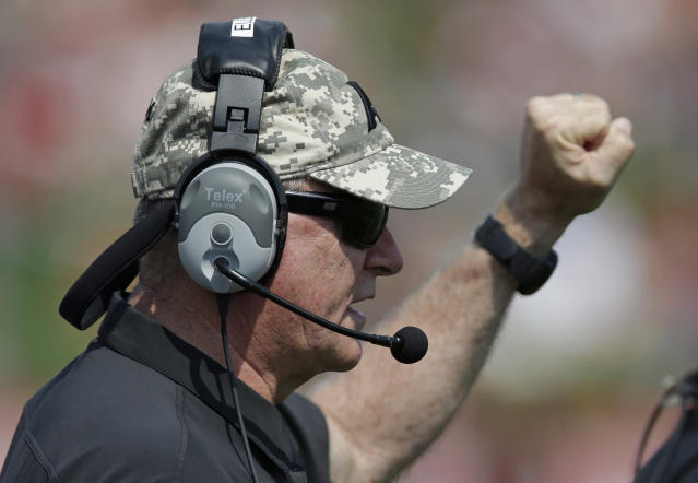 Army head coach Rich Ellerson calls a defense for his team during the first half of an NCAA college football game against Ball State in Muncie, Ind., Saturday, Sept. 7, 2013. (AP Photo/Michael Conroy)