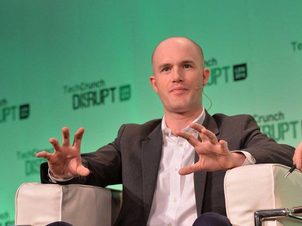 Coinbase CEO Brian Armstrong at TechCrunch Disrupt in London in September 2014. (Anthony Harvey/Getty)