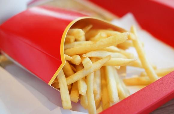 a red box of french fries.