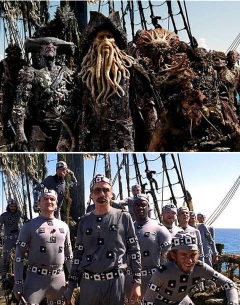 <b>Pirates of the Caribbean: Dead Man's Chest</b> We're not sure which is scarier, the part-man part-sea monster crew of the Flying Dutchman, or Bill Nighy and co. in skin-tight onesies. But, by wearing mo-cap suits on-set, animators were saved plenty of hassle and could work with the raw footage. Captain Davey Jones's skin texture was based on a coffee-stained Styrofoam cup.