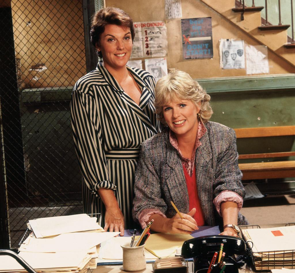 "Tyne Daly as Mary Beth Lacey and Sharon Gless as Christine Cagney in ""Cagney & Lacey."""