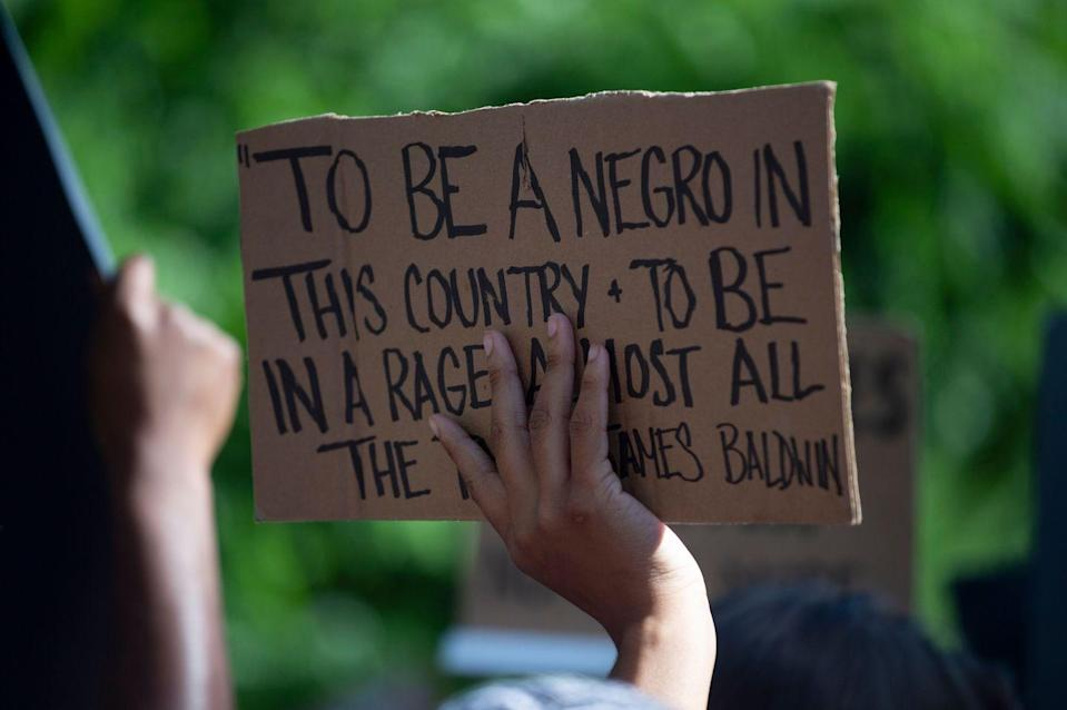 "<p>An excerpt from a classic James Baldwin quote: ""To be a Negro in this country and to be relatively conscious is to be in a rage almost all the time.""</p>"