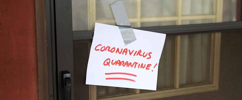 Self Quarantine door sign for front of house, because of Coronavirus (2019-nCoV)(Sars-CoV-2)(COVID-19)