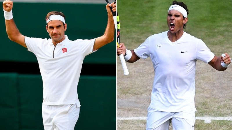 Roger Federer and Rafael Nadal have set up a dream semi-final showdown at Wimbledon. Image: Getty