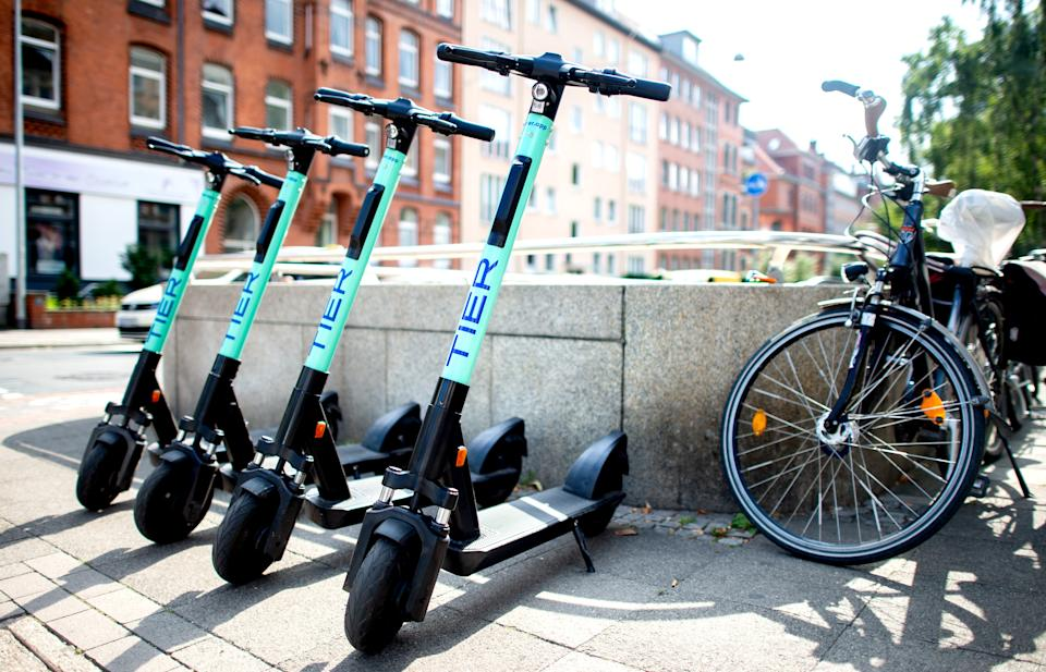 E-scooters from the electric pedal scooter sharing provider Tier Mobility parked in Südstadt, Lower Saxony, Hanover, Germany. Photo: Hauke-Christian Dittrich/DPA/Picture Alliance via Getty