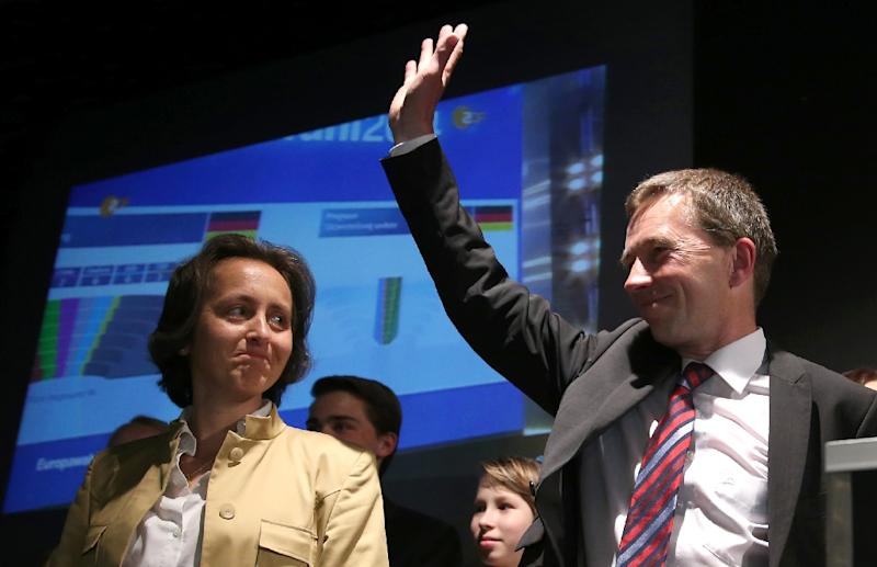 Beatrix von Storch of the Alternative for Germany (AfD) party (L) pictured alongside the party's founder Bernd Lucke (R)in 2014