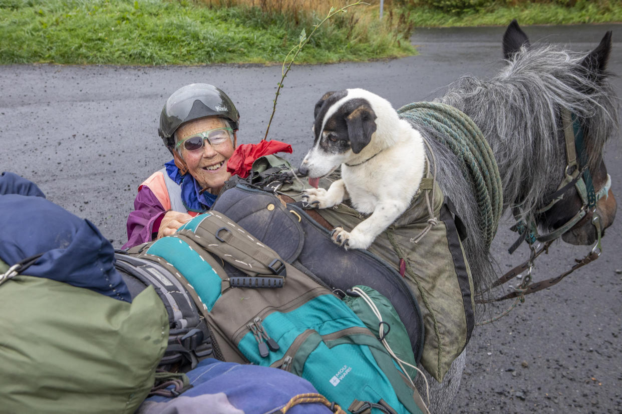 She set off on August 31 with her steed, Diamond, aged 13, and her disabled Jack Russell, Dinky for company, from the off-grid smallholding where she lives.