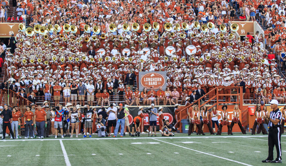 AUSTIN, TX - SEPTEMBER 21: Longhorn band in good form during the NCAA football game between Oklahoma State Cowboys and the Texas Longhorns held September 21, 2019 at the Darrell K Royal-Texas Memorial Stadium in Austin TX. (Photo by Allan Hamilton/Icon Sportswire via Getty Images)
