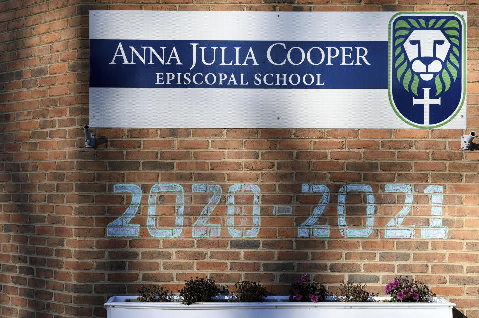 A general view of Anna Julia Cooper Episcopal School, Sunday, Dec. 6, 2020, in Richmond. Proceeds from Frank Pichel's Christmas tree sales will go to Anna Julia Cooper Episcopal School. (AP Photo/Will Newton)