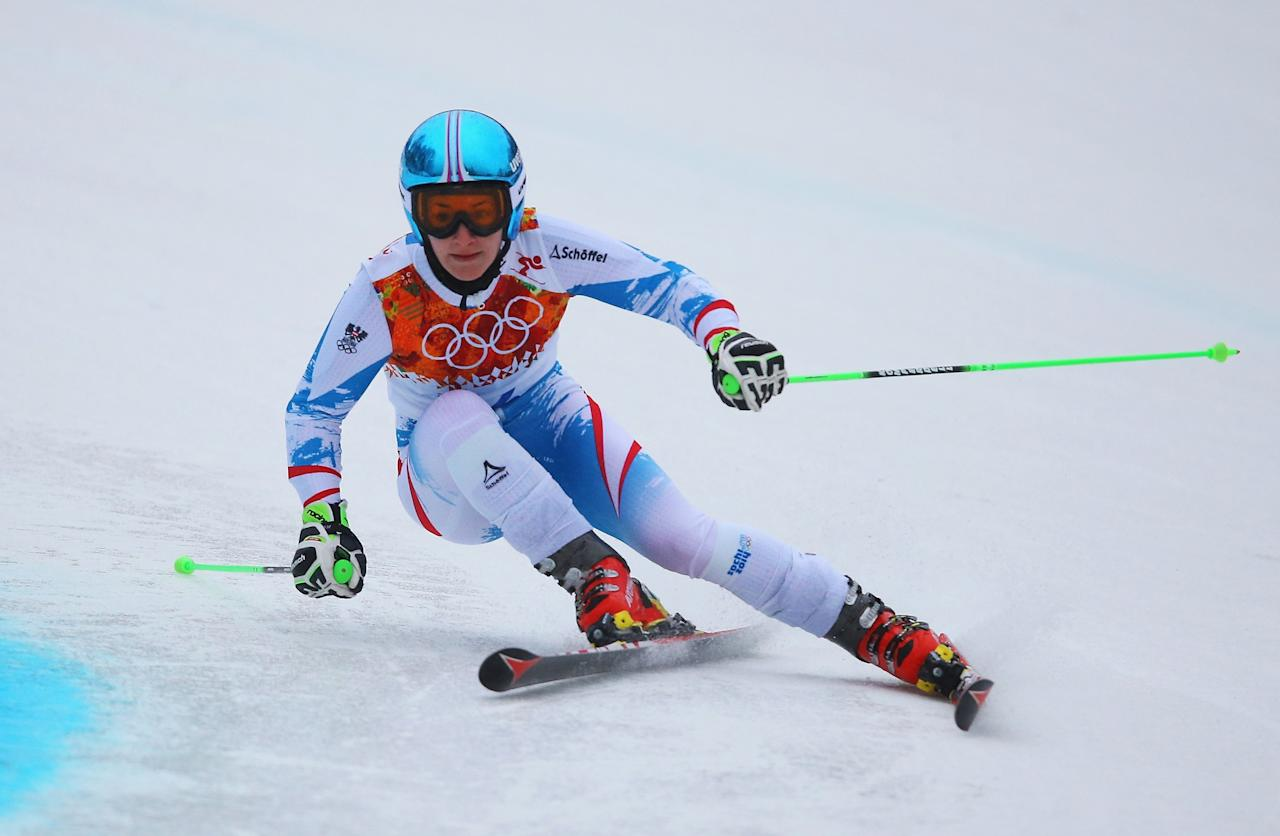SOCHI, RUSSIA - FEBRUARY 18: Kathrin Zettel of Austria makes a run during the Alpine Skiing Women's Giant Slalom on day 11 of the Sochi 2014 Winter Olympics at Rosa Khutor Alpine Center on February 18, 2014 in Sochi, Russia. (Photo by Doug Pensinger/Getty Images)