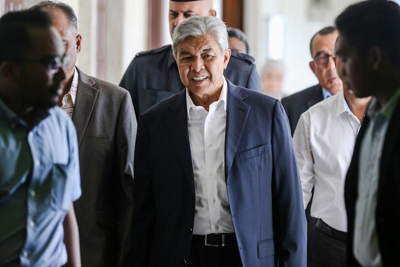 Datuk Seri Ahmad Zahid Hamidi is pictured at the Kuala Lumpur High Court December 3, 2019. — Picture by Firdaus Latif