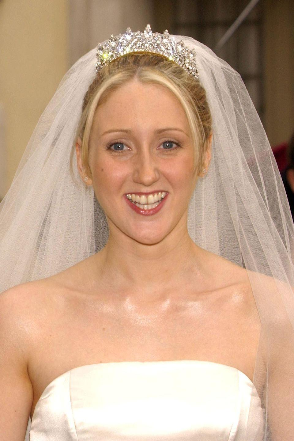 "<p><strong>Wedding date: </strong>June 22, 2002</p><p><strong>Wedding tiara: </strong>While little information about Claire Windsor's wedding jewelry is known to the public, the all-diamond diadem <a href=""http://www.thecourtjeweller.com/2014/05/queen-marys-honeysuckle-tiara.html"" rel=""nofollow noopener"" target=""_blank"" data-ylk=""slk:is believed to be one"" class=""link rapid-noclick-resp"">is believed to be one</a> of the six tiaras owned by the Duke and Duchess of Gloucester, Claire's in-laws. <br></p>"