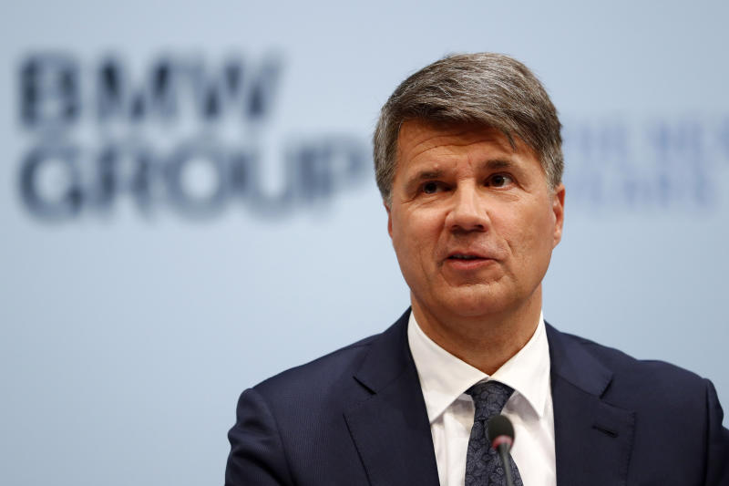 FILE - In this March 20, 2019, file photo CEO of the German car manufacturer BMW, Harald Krueger, attends the earnings press conference in Munich, Germany. BMW's board of directors was to meet in Spartanburg, S.C., on Thursday, July 18. The Munich-based company is in the process of finding a successor to Krueger, who is not seeking a contract extension (AP Photo/Matthias Schrader, File)