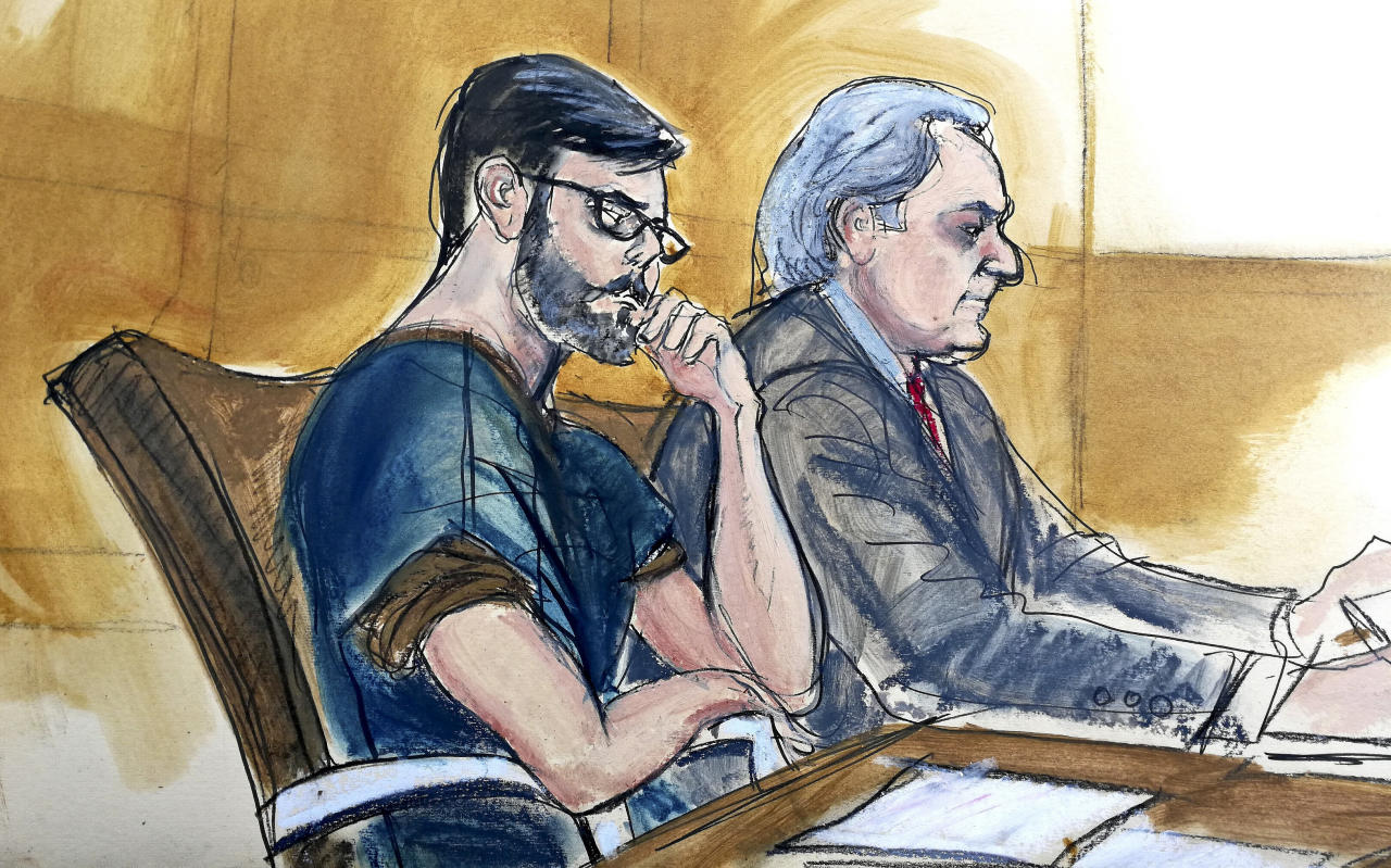 "This courtroom sketch shows former pharmaceutical CEO Martin Shkreli, left, seated next to his lawyer Ben Brafman in federal court, Friday Feb. 23, 2018 in New York. ""Pharma Bro"" Martin Shkreli has appeared in court for the first time since a judge locked him up for his online antics. He heard the government argue Friday that he's on the hook for more than $7 million for his securities fraud conviction. (Elizabeth Williams via AP)"