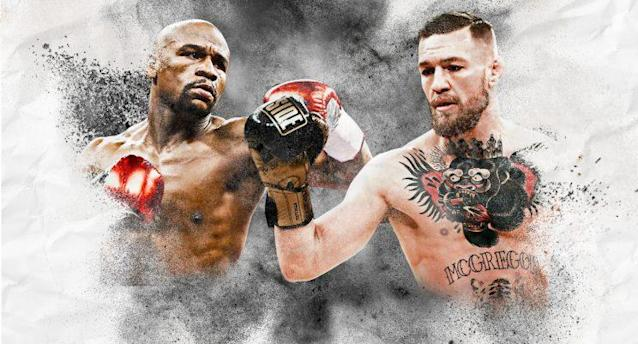 Floyd Mayweather and Conor McGregor will meet at T-Mobile Arena in Las Vegas on Aug. 26. (Yahoo Sports illustration)