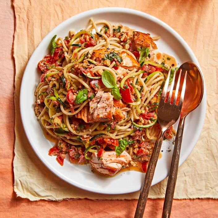 <p>Trapanese pesto is the Sicilian version of the sauce that uses tomatoes and almonds instead of pine nuts. This savory pesto sauce coats low-carb zucchini noodles and heart-healthy seared salmon to create an absolutely delicious pasta dinner.</p>