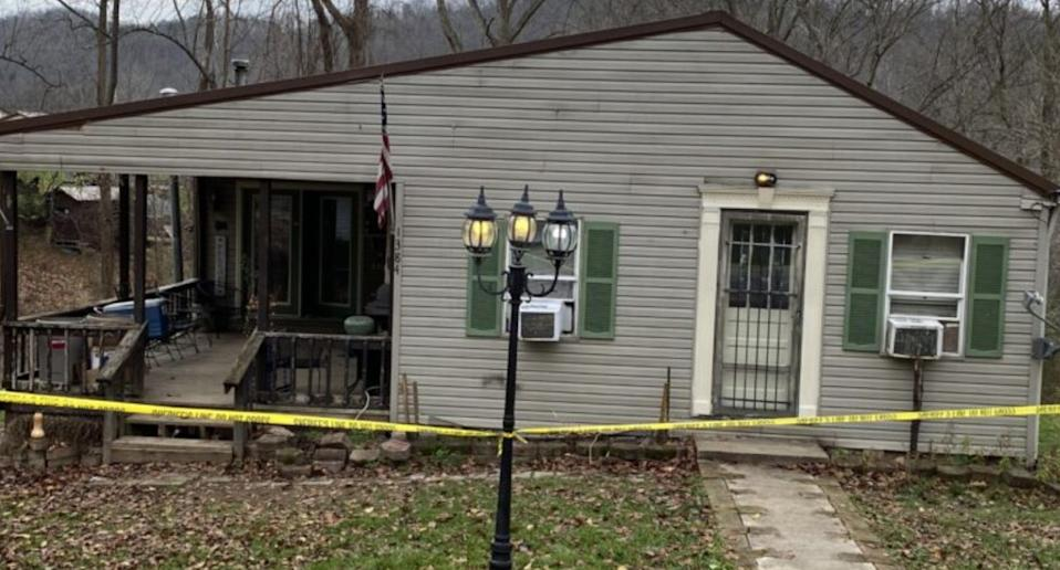 The exterior of the West Virginia house where two boys and their parents were found dead.