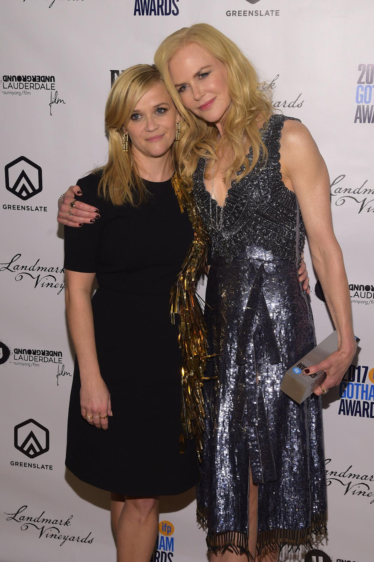 NEW YORK, NY - NOVEMBER 27: Reese Witherspoon and Nicole Kidman attend the GreenSlate Greenroom at The 2017 Gotham Awards at Cipriani Wall Street on November 27, 2017 in New York City. (Photo by Jason Kempin/Getty Images for GreenSlate)