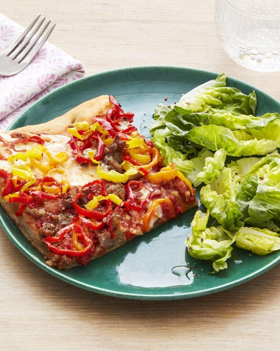 "<p>Meat-loving moms will go crazy for this satisfying pizza. The pickled peppers balance out the heavier ingredients beautifully.</p><p><strong><a href=""https://www.thepioneerwoman.com/food-cooking/recipes/a32675827/sausage-and-peppers-pizza-recipe/"" rel=""nofollow noopener"" target=""_blank"" data-ylk=""slk:Get the recipe"" class=""link rapid-noclick-resp"">Get the recipe</a>.</strong></p><p><strong><a class=""link rapid-noclick-resp"" href=""https://go.redirectingat.com?id=74968X1596630&url=https%3A%2F%2Fwww.walmart.com%2Fbrowse%2Fhome%2Fthe-pioneer-woman-dishes%2F4044_623679_639999_7373615&sref=https%3A%2F%2Fwww.thepioneerwoman.com%2Ffood-cooking%2Fmeals-menus%2Fg35589850%2Fmothers-day-dinner-ideas%2F"" rel=""nofollow noopener"" target=""_blank"" data-ylk=""slk:SHOP PLATES"">SHOP PLATES</a><br></strong></p>"