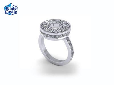 White Castle's Dr Pepper Ring Thing Giveaway offers fans the chance to win a $5,000 halo-style diamond ring (pictured), limited-edition Chicken Ring Earrings or 1,000 additional prizes.