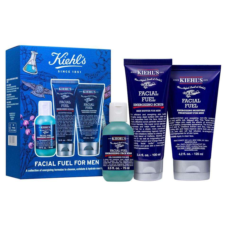 """<p><strong>Kiehl's Since 1851</strong></p><p>saksfifthavenue.com</p><p><strong>$55.00</strong></p><p><a href=""""https://fave.co/2RDpp7E"""" rel=""""nofollow noopener"""" target=""""_blank"""" data-ylk=""""slk:SHOP NOW"""" class=""""link rapid-noclick-resp"""">SHOP NOW</a></p><p>Not skincare–skin <em>fuel</em>. This gift set includes everything your father needs: An exfoliator, cleanser, and moisturizer.</p>"""