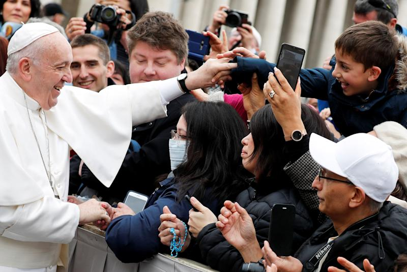 Pope Francis greets Catholic pilgrims during his weekly general audience at the Vatican on Feb. 26, 2020. (Photo: Remo Casilli / Reuters)