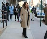 <p>Mariska Hargitay stops for a smile while shooting scenes for <em>Law & Order: SVU </em>in N.Y.C. on Thursday.</p>