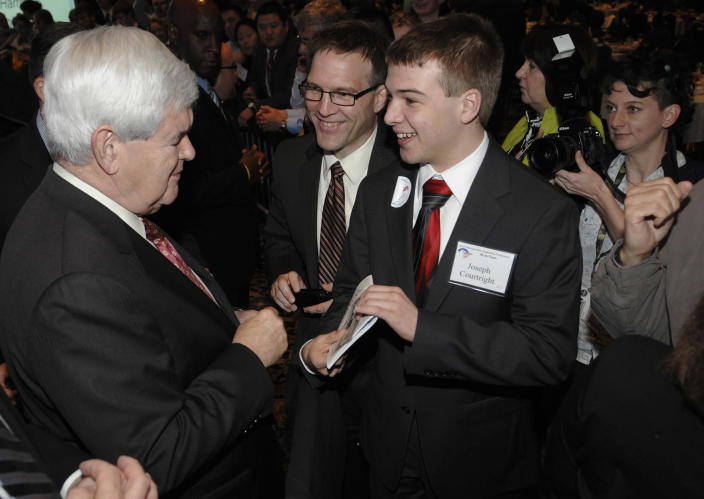 Republican presidential candidate, former House Speaker Newt Gingrich, talks with Joseph Courtright, right, of Manheim, Pa., during the Pennsylvania Leadership Conference in Camp Hill, Pa., Saturday March 24, 2012. There's little more than four weeks to go until Pennsylvania's April 24 presidential primary. The conference is the state's largest annual gathering of conservatives. (AP Photo/Jason Minick)