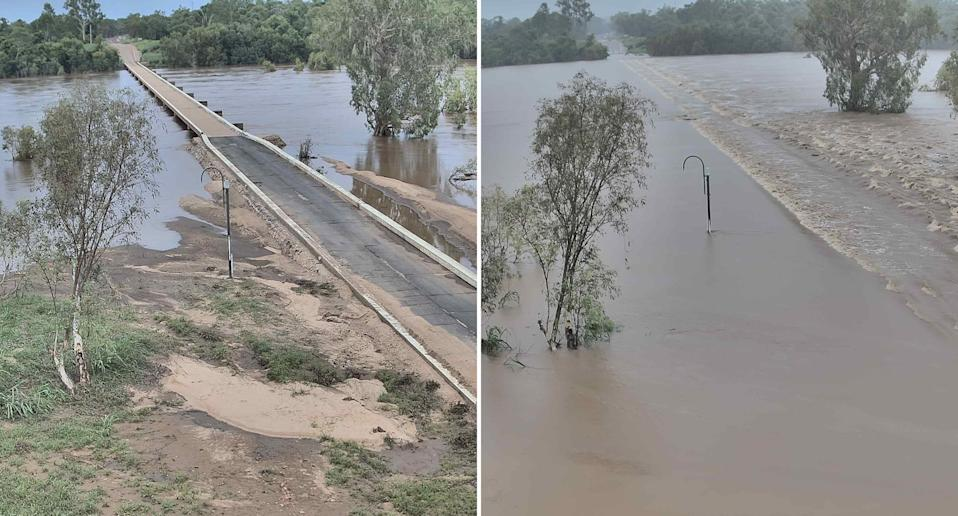 A non-flooded and flooded Gulf Development Road are pictured following heavy rain in Far North Queensland.