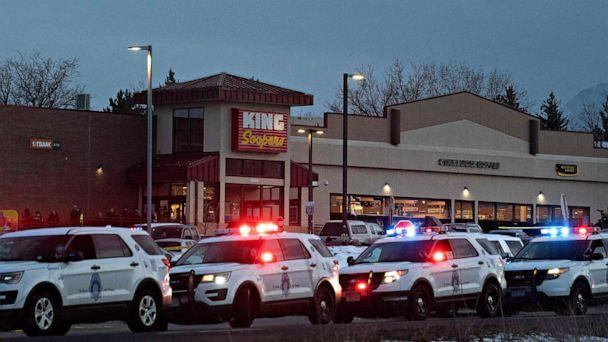 PHOTO: Police vehicles line the outside of the King Soopers grocery store in Boulder, Colo. on March 22, 2021 after reports of an active shooter. (Jason Connolly/AFP via Getty Images)