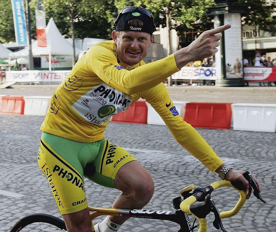 PARIS  JULY 23   JULY 22  Floyd Landis of the USA and Phonak celebrates winning the 93rd Tour de France on July 23 2006 in Paris France  Photo by Bryn LennonGetty Images