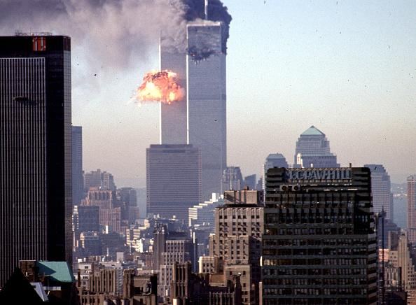 A hijacked commercial plane crashes into the World Trade Center 11 September 2001 in New York. The landmark skyscrapers were destroyed in the attack.