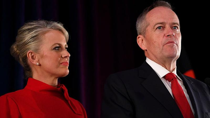 Australian Labor leader Bill Shorten on stage with wife Chloe, concedes defeat at the Federal Labor Reception at Hyatt Place Melbourne, Essendon Fields, in Melbourne, Saturday, 18 May, 2019. Approximately 16.5 million Australians have today voted in what is tipped to be a tight election contest between Australian Prime Minister Scott Morrison and Australian Opposition leader Bill Shorten. (AAP Image/Lukas Coch) NO ARCHIVING