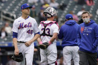 New York Mets starting pitcher Jacob deGrom (48) leaves the mound during the sixth inning of a baseball game against the Arizona Diamondbacks, Sunday, May 9, 2021, in New York. (AP Photo/Kathy Willens)