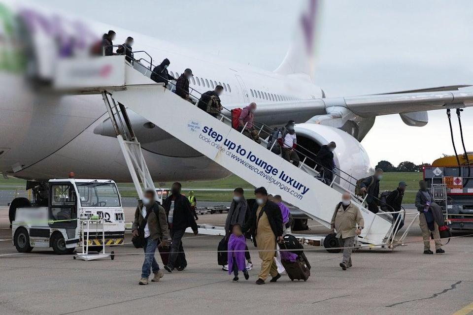 This is the sight they are all working towards – Afghans evacuated from Kabul arriving to safety in Britain (SAC Samantha Holden RAF/PA) (PA Media)
