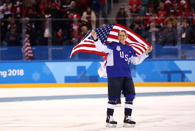<p>Gigi Marvin #19 of the United States celebrates after defeating Canada in a shootout to win the Women's Gold Medal Game on day thirteen of the PyeongChang 2018 Winter Olympic Games at Gangneung Hockey Centre on February 22, 2018 in Gangneung, South Korea. (Photo by Jamie Squire/Getty Images) </p>