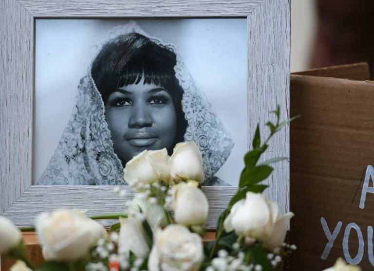 A photograph of American soul legend Aretha Franklin displayed after her death in August 2018, aged 76