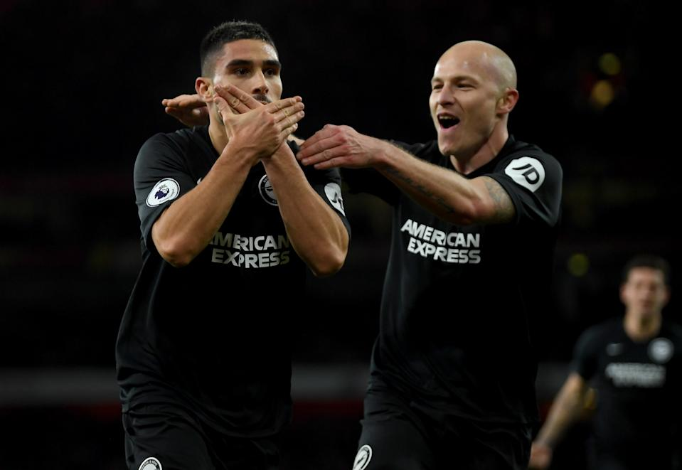LONDON, ENGLAND - DECEMBER 05: Neal Maupay of Brighton celebrates with Aaron Mooy of Brighton after scoring his teams second goal during the Premier League match between Arsenal FC and Brighton & Hove Albion at Emirates Stadium on December 05, 2019 in London, United Kingdom. (Photo by Mike Hewitt/Getty Images)