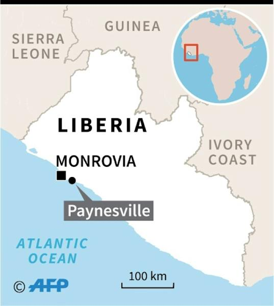 Map of Liberia locating Paynesville, where a Koranic school fire killed more than 20 children and two teachers