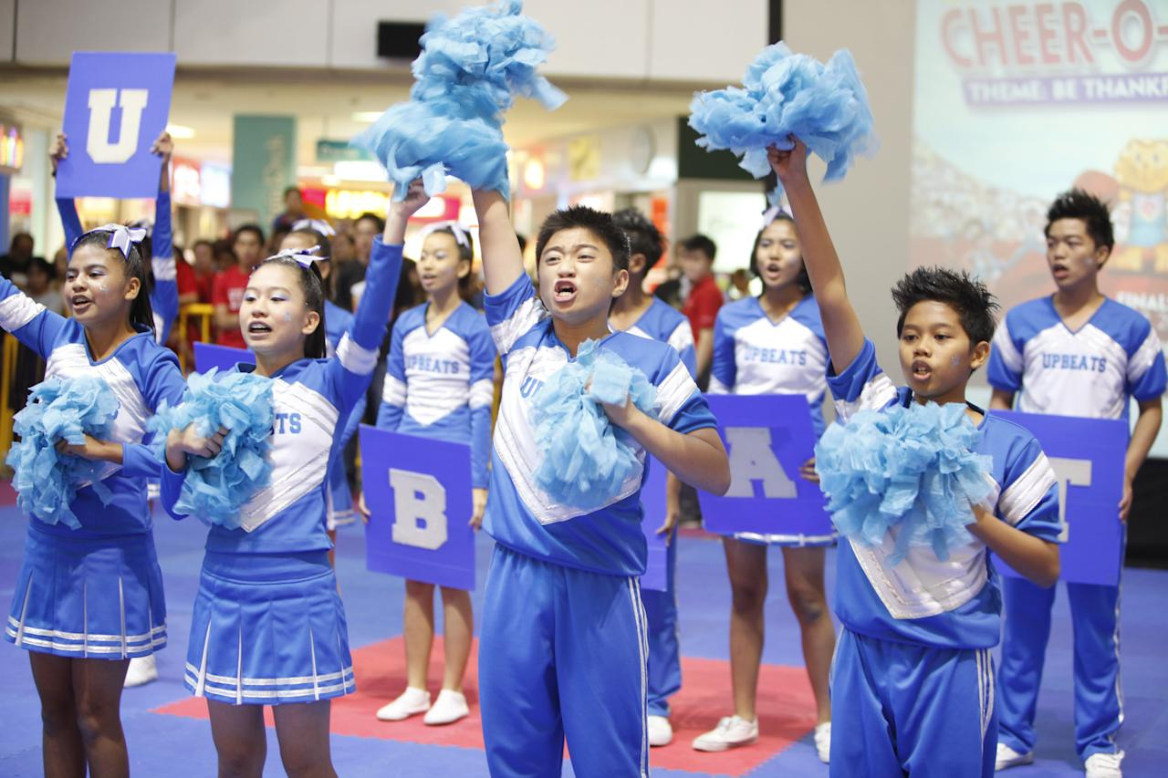 Enthusiastic Westwood Secondary students in the cheerleading routine for this year's Cheer-O-Mania theme 'Be Thankful'.