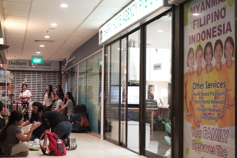 A maid agency seen at Lucky Plaza, a popular gathering spot for Filipino FDWs on their days off. Both CDE and HOME have satellite offices here. (PHOTO: Video screencap)