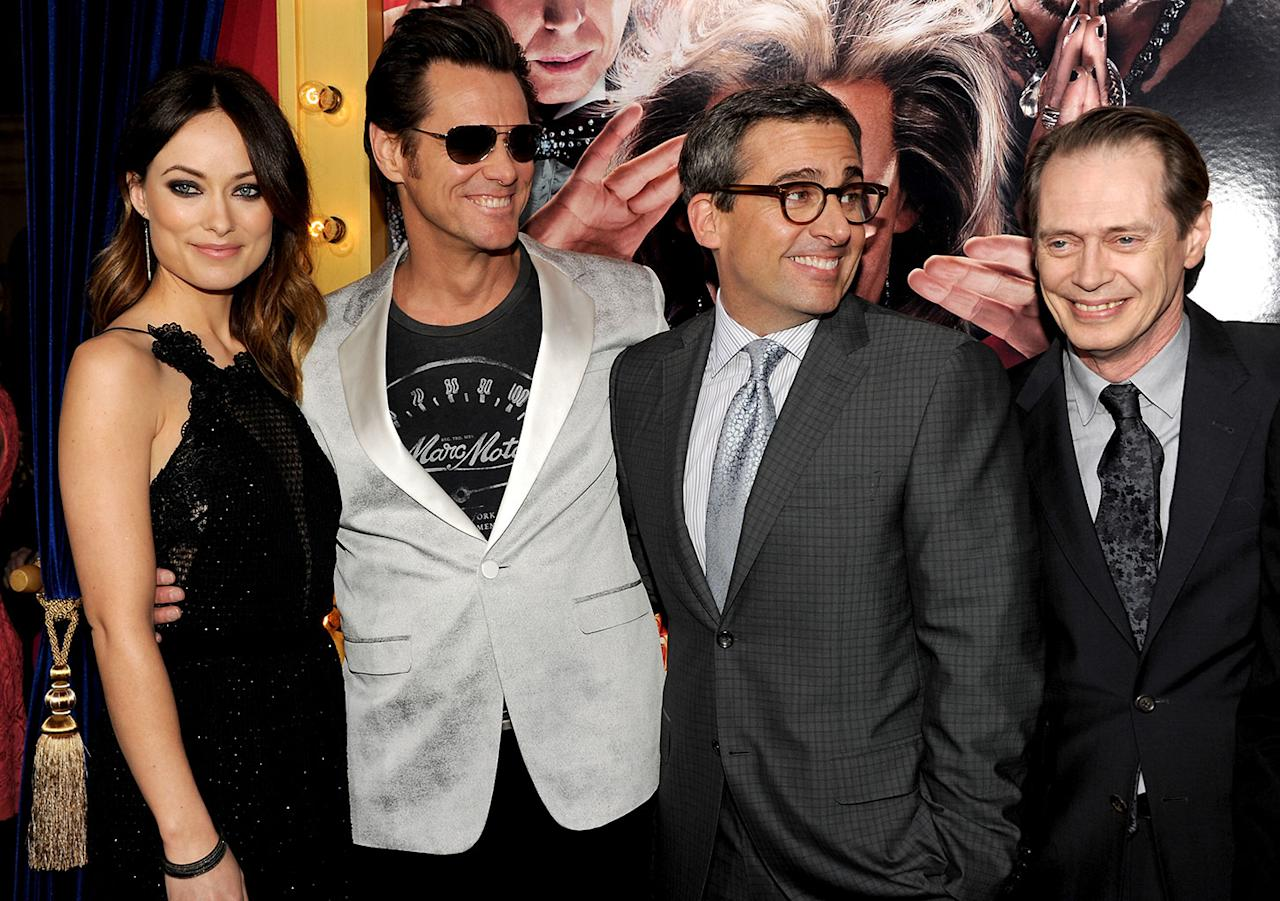 "Olivia Wilde, Jim Carrey, actor/producer Steve Carell, and actor Steve Buscemi attend the premiere of Warner Bros. Pictures' ""The Incredible Burt Wonderstone"" at TCL Chinese Theatre on March 11, 2013 in Hollywood, California.  (Photo by Kevin Winter/Getty Images)"