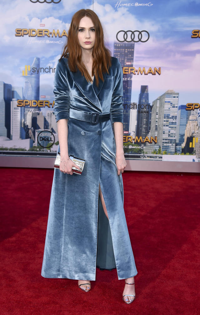"<p><a href=""https://www.yahoo.com/movies/tagged/karen-gillan"" data-ylk=""slk:Karen Gillan"" class=""link rapid-noclick-resp"">Karen Gillan</a> is a <a href=""https://www.yahoo.com/movies/film/guardians-of-the-galaxy"" data-ylk=""slk:Guardians of the Galaxy"" class=""link rapid-noclick-resp""><em>Guardians of the Galaxy</em></a> crossover at the <a href=""https://www.yahoo.com/movies/film/spider-man-homecoming"" data-ylk=""slk:Spider-Man: Homecoming"" class=""link rapid-noclick-resp""><em>Spider-Man: Homecoming</em></a> premiere at TCL Chinese Theatre on June 28, 2017, in Hollywood. (Photo: Jordan Strauss/Invision/AP) </p>"