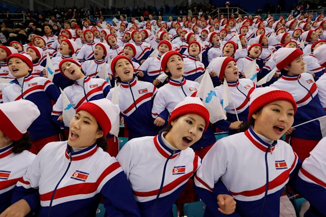 Ice Hockey – Pyeongchang 2018 Winter Olympics – Men Preliminary Round Match – Czech Republic v South Korea - Gangneung Hockey Centre, Gangneung, South Korea – February 15, 2018 - North Korean cheerleaders attend the Czech Republic Vs. South Korea game. REUTERS/Kim Kyung-Hoon TPX IMAGES OF THE DAY