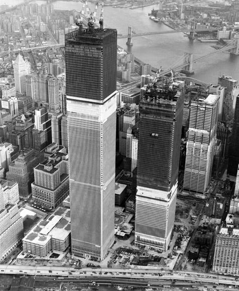 A view of the construction of the 110th floor twin story World Trade Center Towers in an undated photo in New York City. Two hijacked planes crashed into the World Trade Center September 11, 2001, destroying the towers. (Photo by Getty Images)v