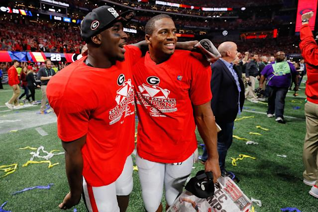 <p>Both star Georgia tailbacks Nick Chubb and Sony Michel didn't make the list. But they're two of the high-profile players in the playoff, so we wanted to note that they both are considered prospects that will be chosen by the end of the third round. One executive said he had Chubb graded as a second-round pick and expected Michel to be chosen early in the third round. </p>
