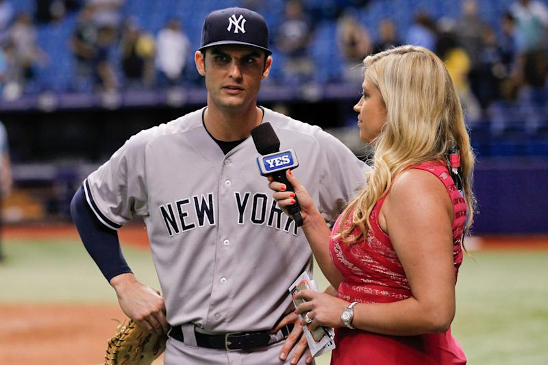 16 September 2015: New York Yankees first baseman Greg Bird (31) is interviewed by Meredith Marakovits of the YES Network after the Yankees 3-1 victory of the regular season Major League Baseball game between the New York Yankees and Tampa Bay Rays at Tropicana Field in St. Petersburg, FL. (Photo by Mark LoMoglio/Icon Sportswire/Corbis via Getty Images)